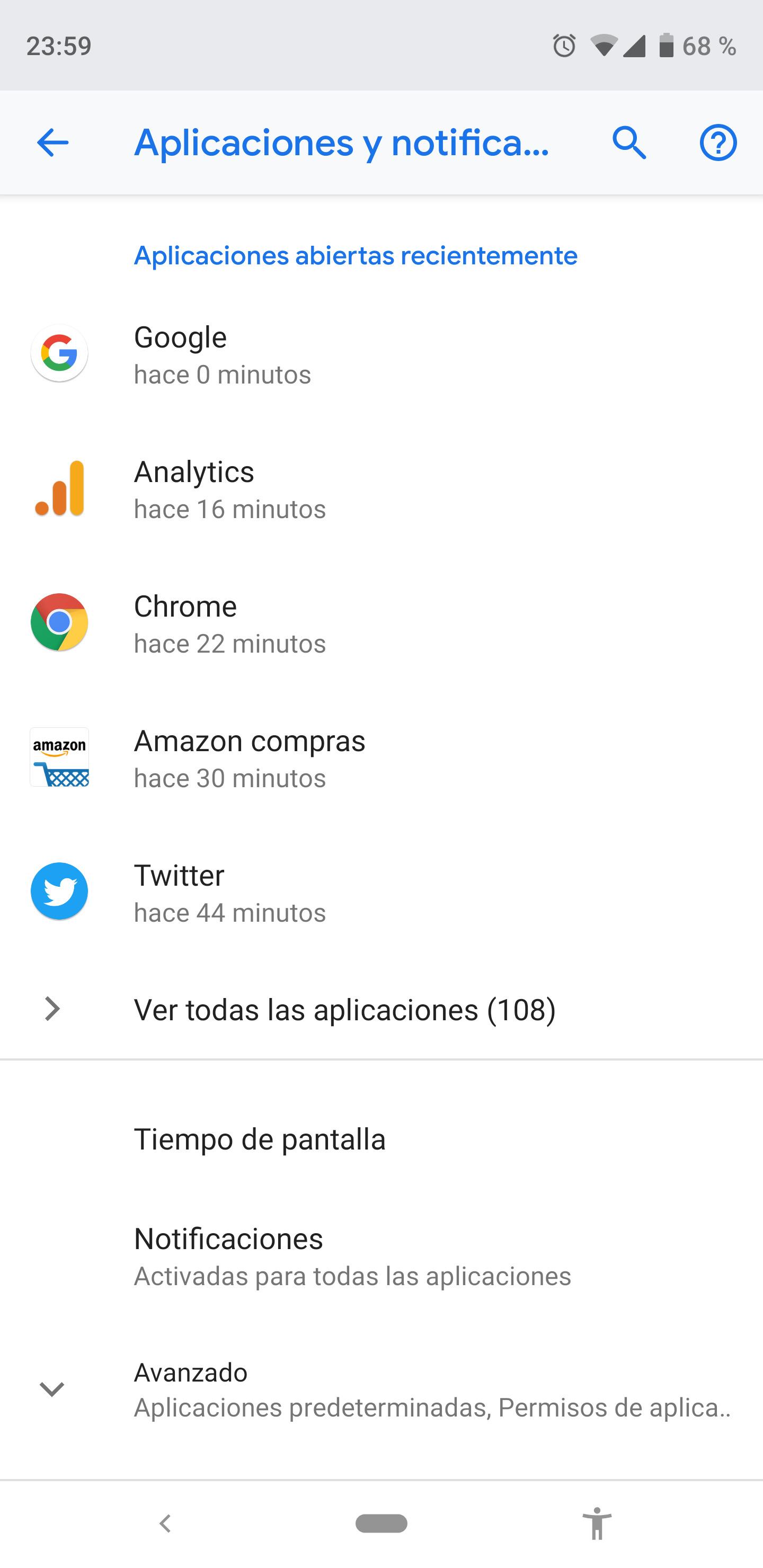 Ajustes del sistema operativo Android