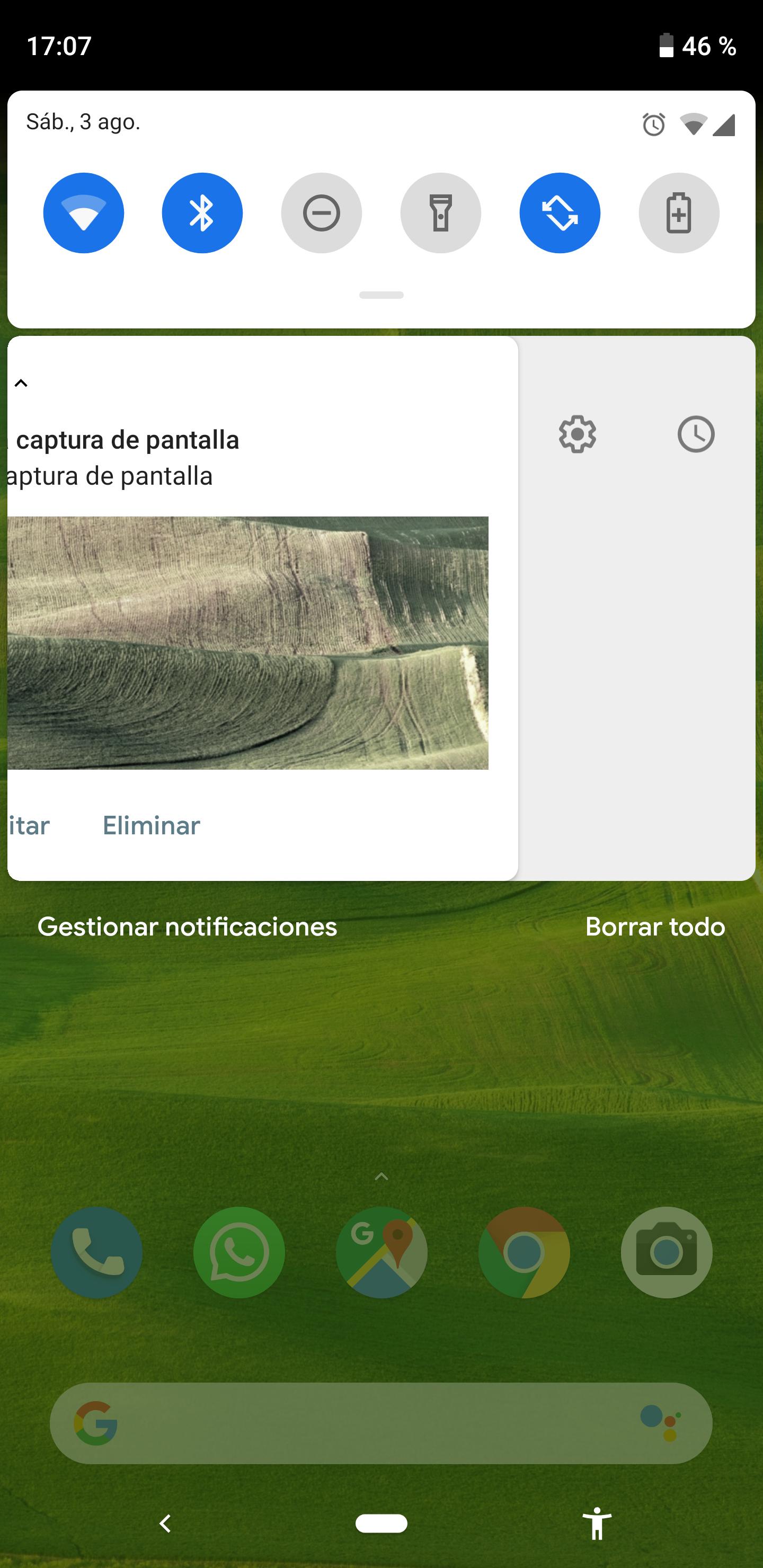 Opciones gestión notificación Android