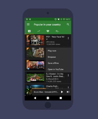 Interfaz de la aplicación YMusic para Android