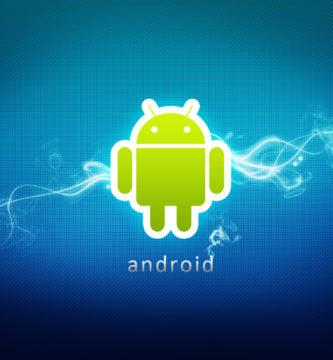 Logotipo de Android con fondo azul y rayo