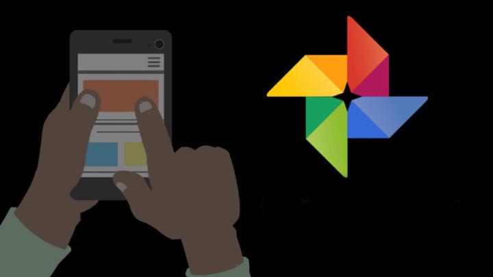 Logo Google Fotos con fondo negro