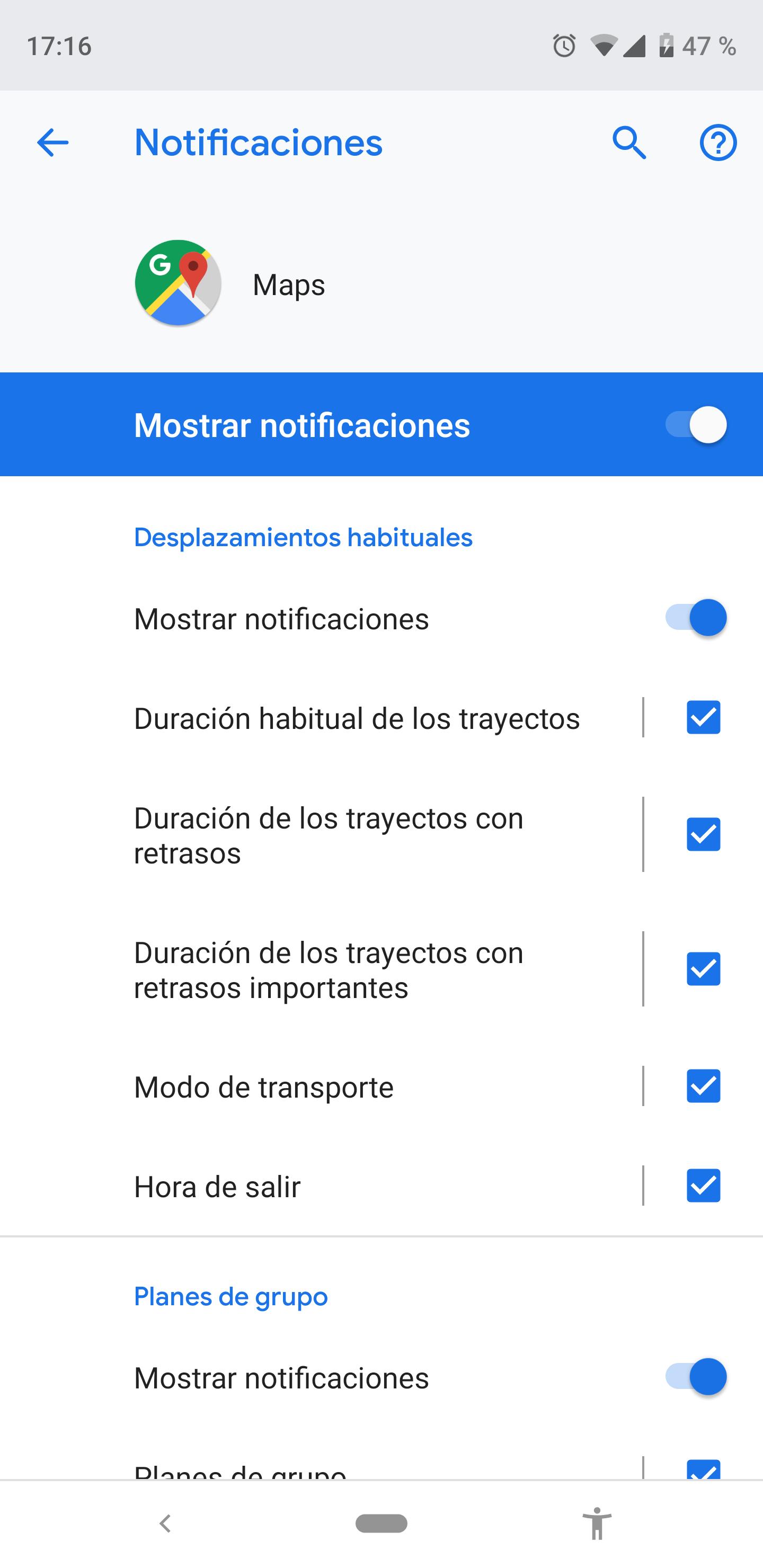 Ajustes de notificación Android para aplicaciones
