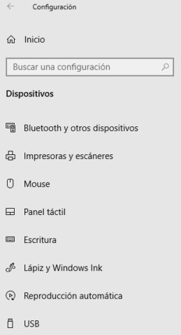 Opciones dispositivos en Windows 10