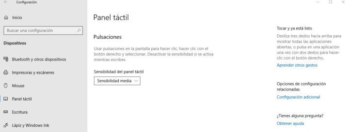 Panel táctil en Windows 10 sin opciones touchpad
