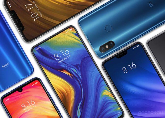 Teléfonos de Xiaomi en pantalla
