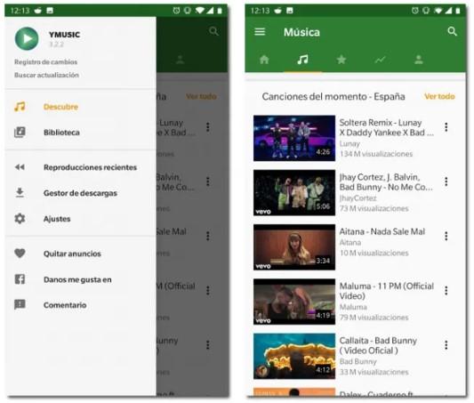 Uso de la aplicación YMusic para Android que sustituye a YouTube