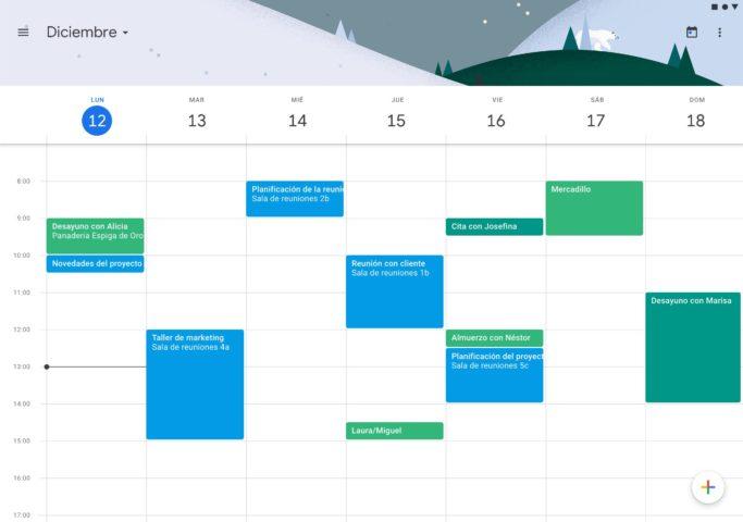 Interfaz para ordenador del calendario de Google