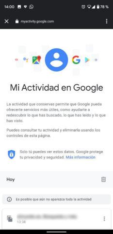 Actividad en Google Chrome gestión de datos