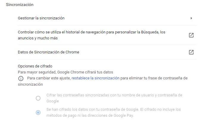 Apartado sincronizar en Google Chrome