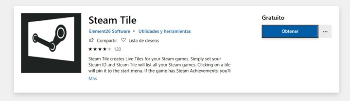 Aplicación Steam Tile