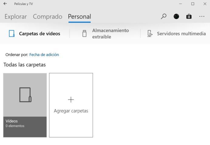 Aplicación Películas y TV en Windows 10
