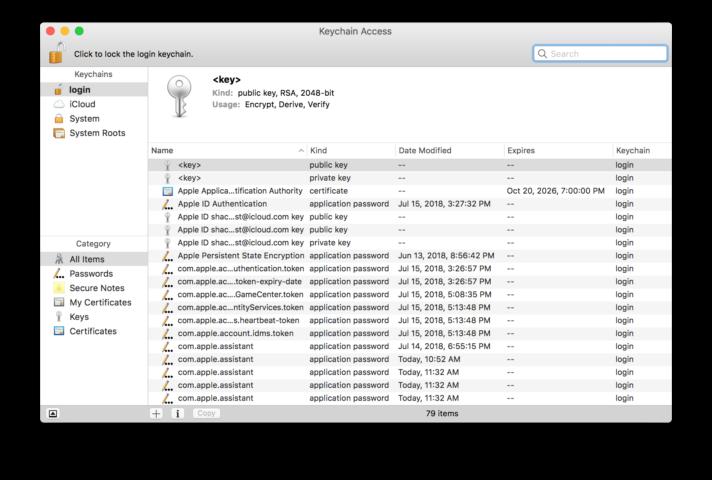 Aplicación Keychain Access de macOS