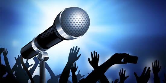 Micr´´ofono para karaoke fondo azul