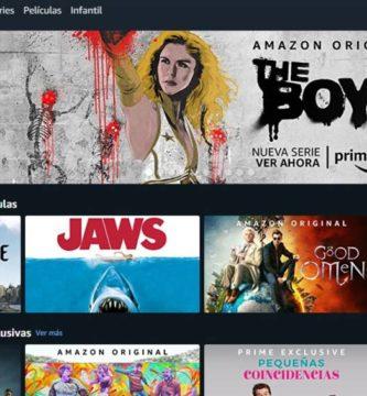 Interfaz de Amazon prime Video