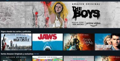 Interfaz de Amazon prime Video