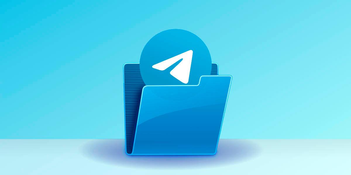 Telegram con carpeta y fondo azul