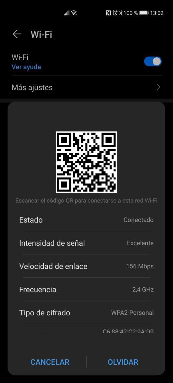 Opciones QR para WiFi en Android