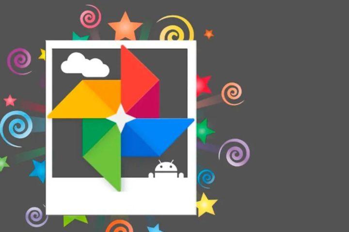 Logotipo de Google fotos con fondo gris