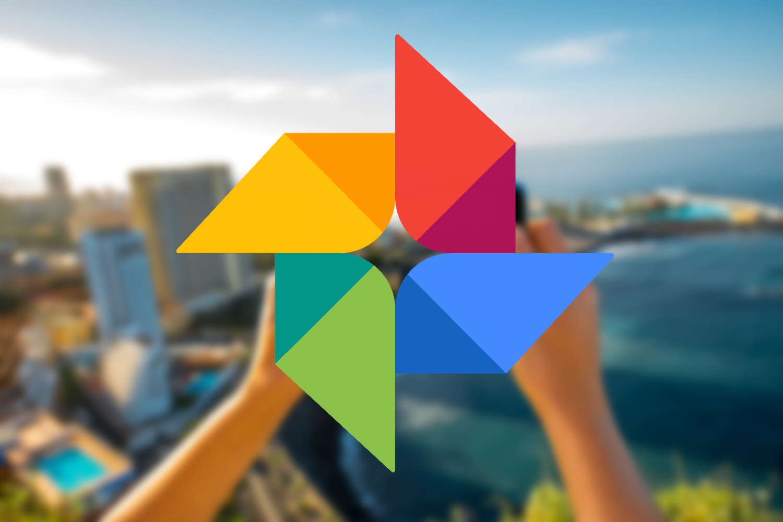 Logotipo de Google Fotos con manos