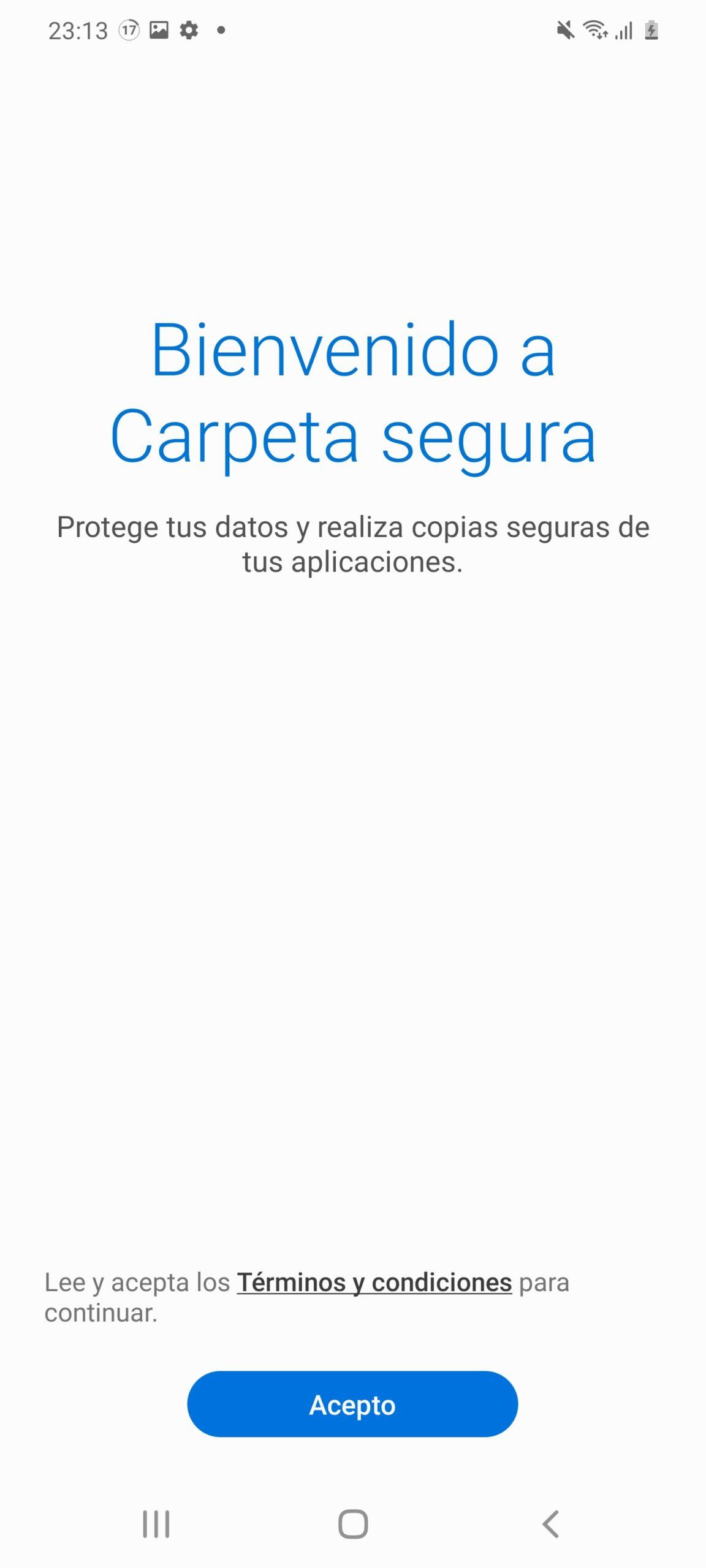 Inicio activación de Carpeta segura en Samsung Galaxy