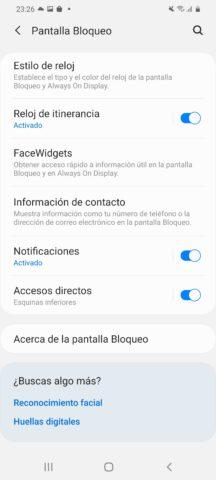 Ajustes de Samsung Galaxy