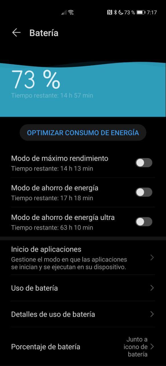 Apartado Batería en Android