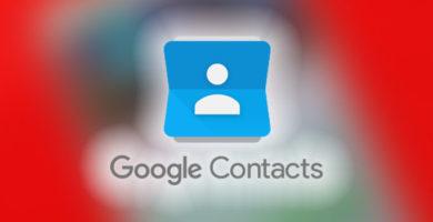 Contactos de Google con fondo rojo