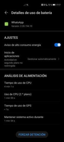 Detalle de consumo de aplicación en Android