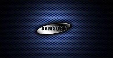 Logotipo Samsung con fondo azul