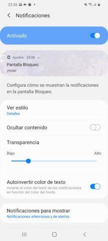 Opciones notificaciones en Pantalla de bloqueo en Samsung Galaxy